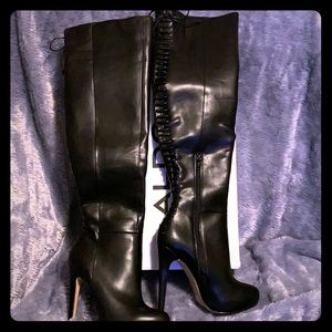 ALDO Black leather high heel platform knee boots